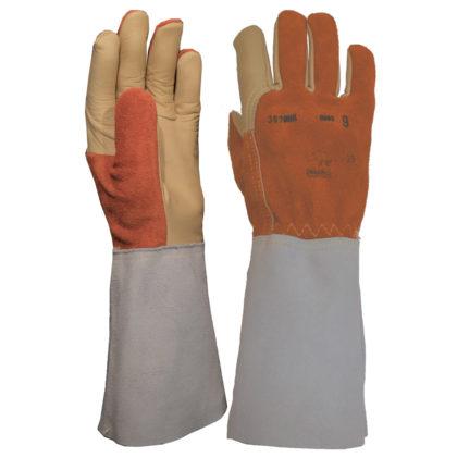 Visuel 357BHK PEAUCEROS gant de travail cuir soudeur doublé anti-coupure